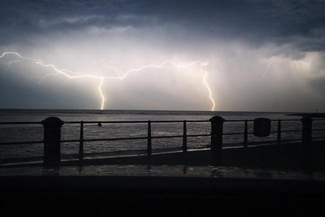 More storm warnings. Lightning at Mudeford. Picture by Jeremy Clarke
