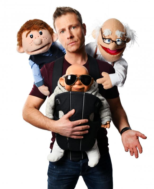 Paul Zerdin with rubber friends and family