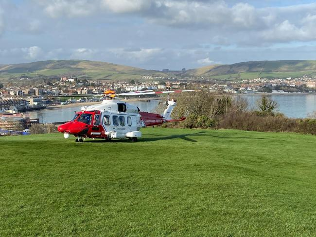 The coastguard helicopter and the air ambulance were called tp Peveril Point in Swanage after a man slipped down a cliff. Image: Purbeck police