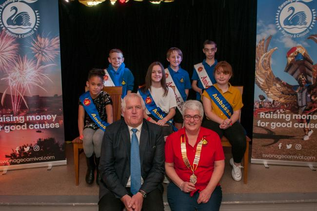 The 2019 ambassadors with the 2020 ambassadors, carnival chairma Maria Foot and Swanage Mayor Mike Bonfield. Picture: Murry Lambert