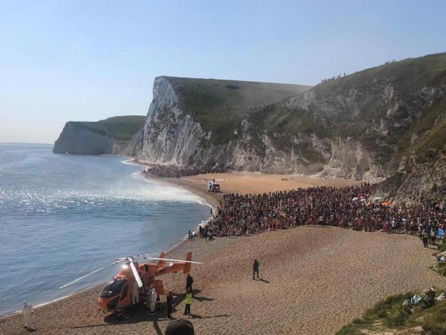 Rescue helicopter lands near Durdle Door Picture: Purbeck Police