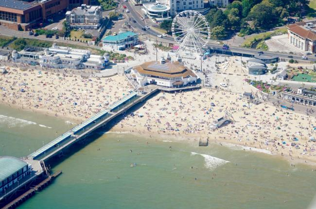An aerial view of crowds on Bournemouth beach on May 25, 2020. Picture by Stephen Bath. Pilot Jeremy Carpenter