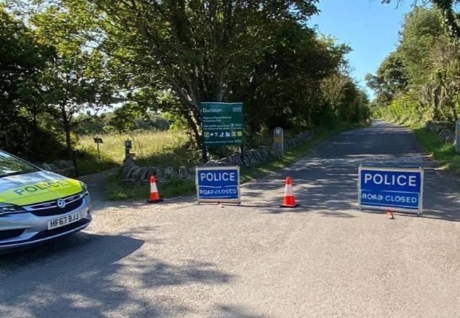 The road closure at Durlston Country Park. Picture: Purbeck Police