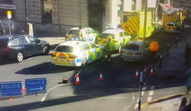 Emergency services in Swanage High Street. Picture: Purbeck Police.