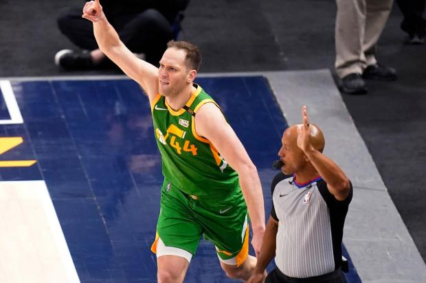 Utah Jazz forward Bojan Bogdanovic (44) celebrates after scoring a 3-pointer against the Denver Nuggets