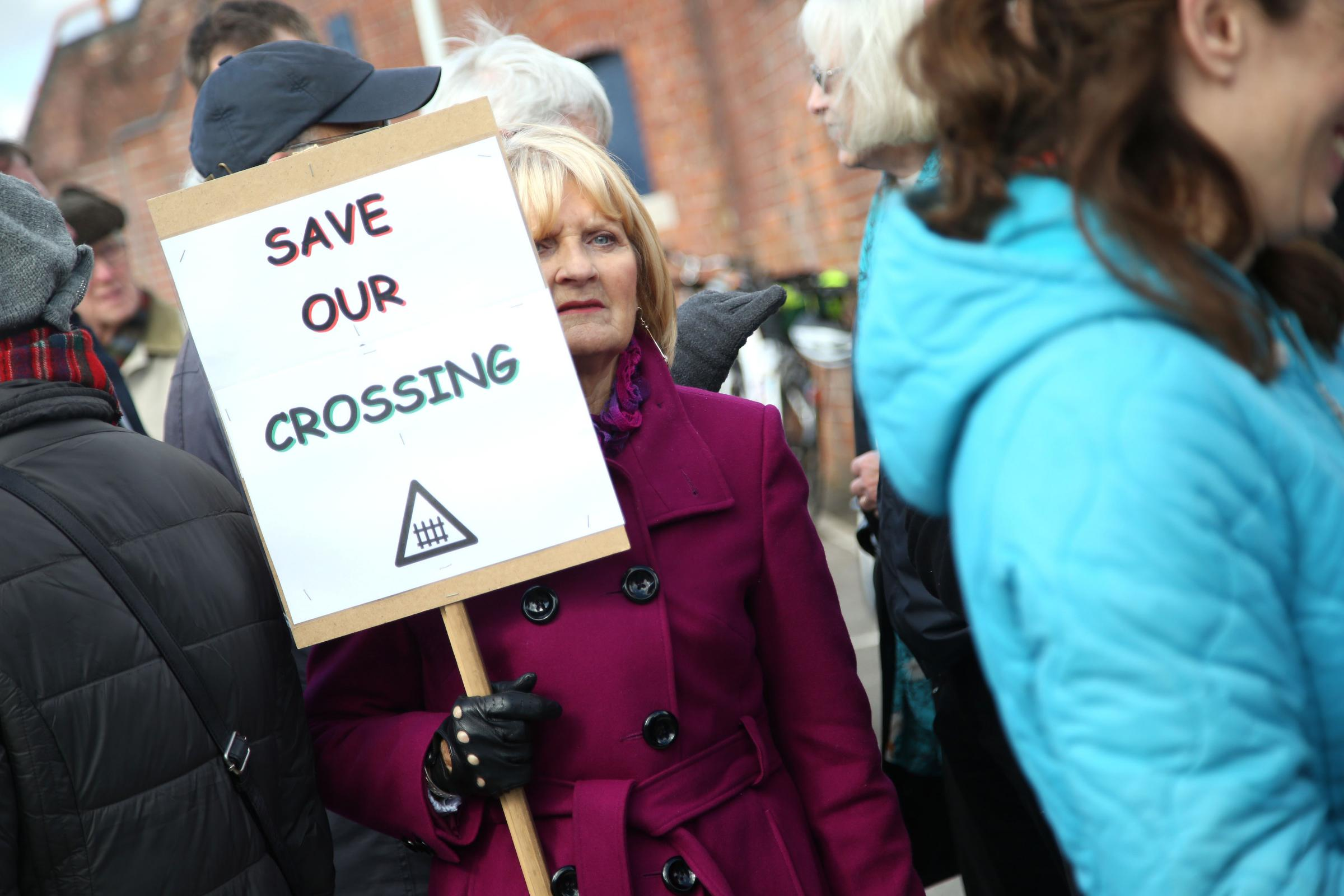 Residents and councillors in Wareham protest against the closure of Wareham railway station's pedestrian level crossing. Elderly and disabled people rely on the crossing to get into town..
