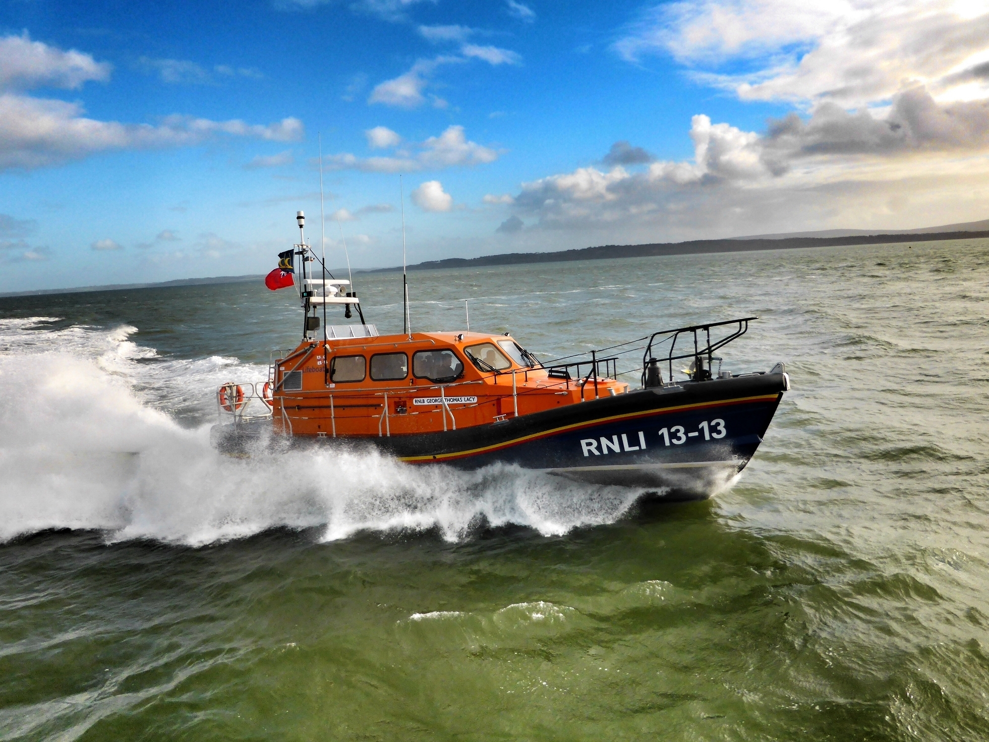 Swanage Shannon class lifeboat George Thomas Lacy 13-13 during sea trials prior to going on station in 2016.