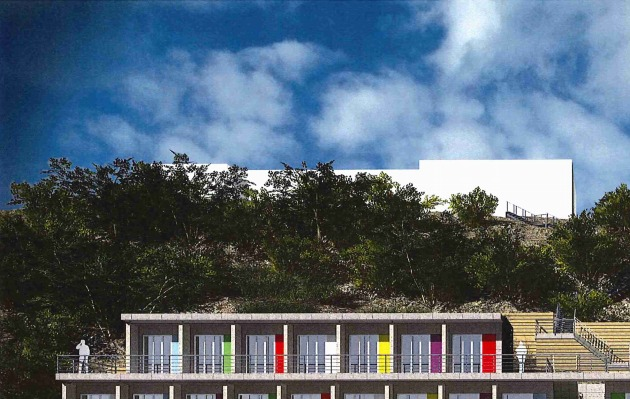 Plans for 45 beach huts on the cliff face at Burlington Road, Swanage, beneath Pines Hotel. Picture: HGP Architects