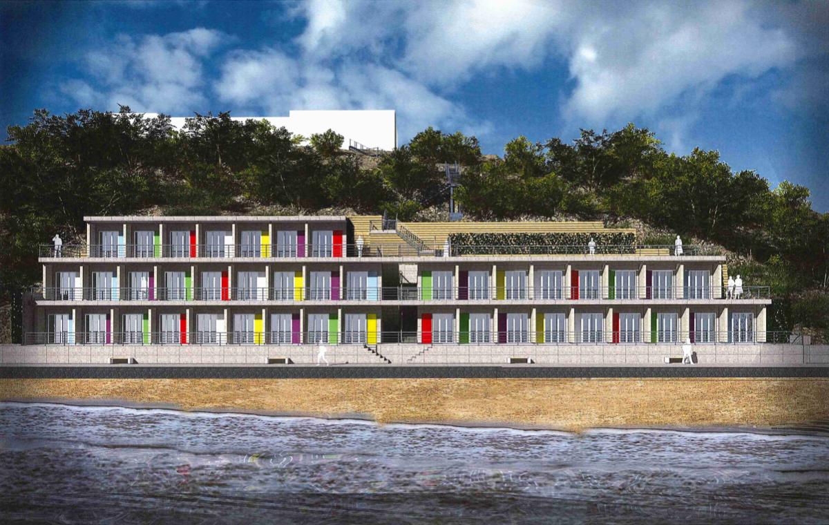 The revised scheme for 40 beach huts beneath Pines Hotel in Swanage. Picture: HGP Architects