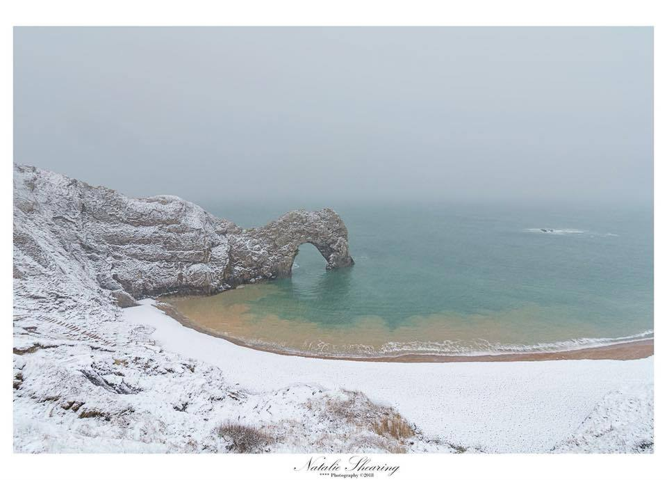 A snowy Durdle Door. Picture by Echo Camera Club member, Natalie Shearing