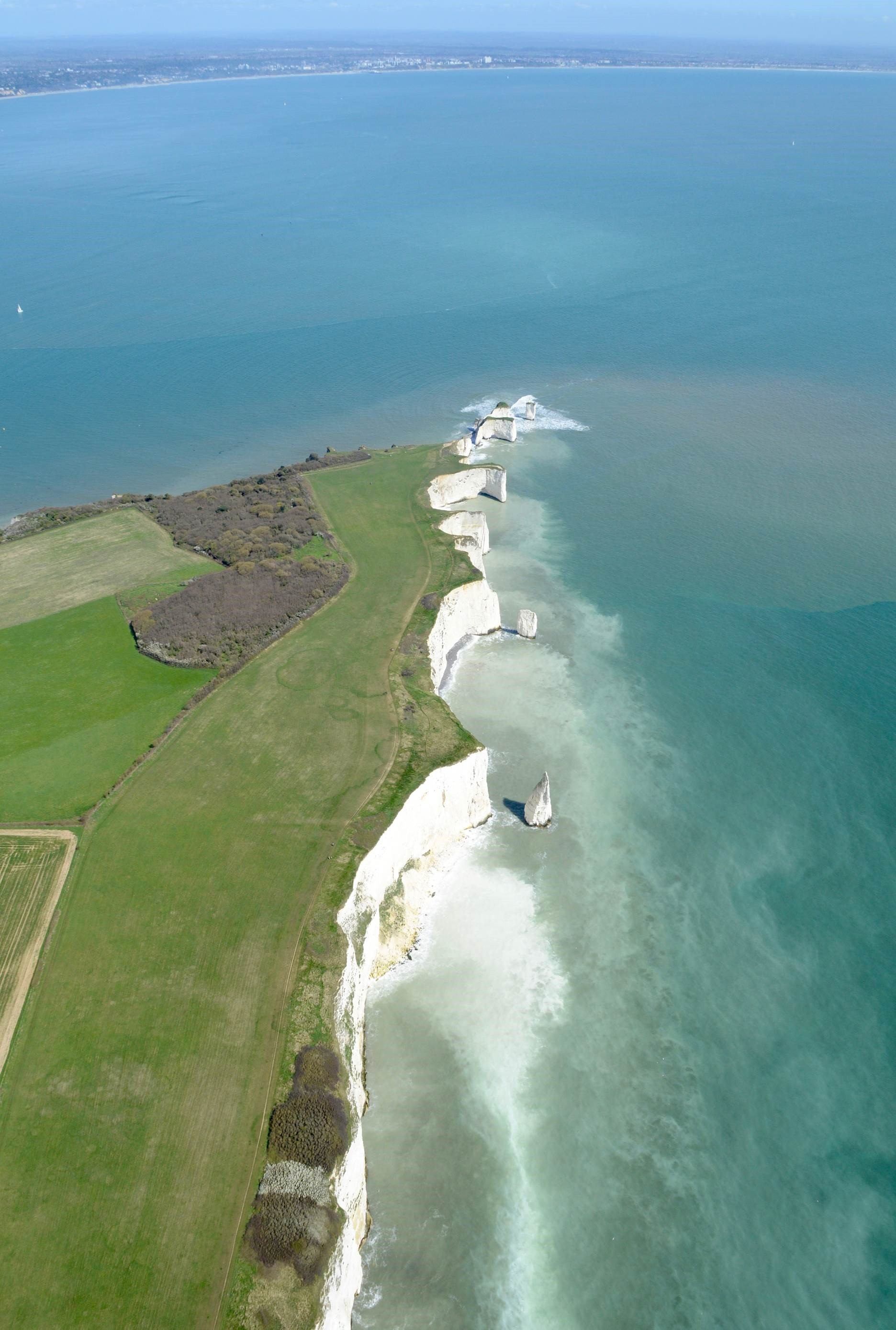 Old Harry Rocks from the air, taken by Stephen Bath