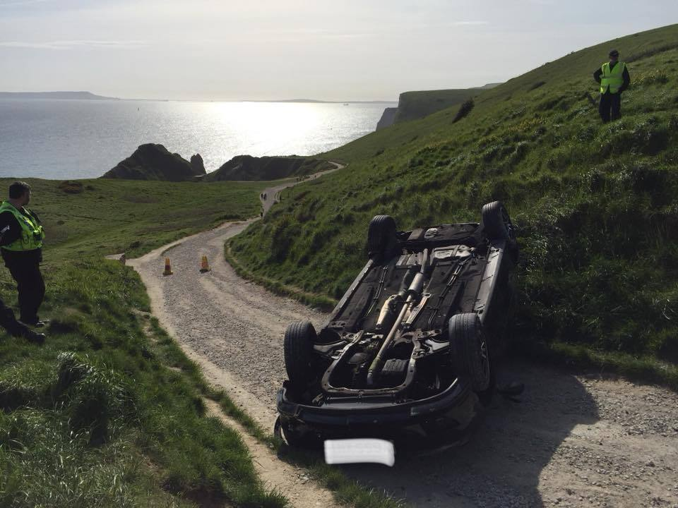 The car at Durdle Door. Picture: Dorset and Wiltshire Fire and Rescue Service