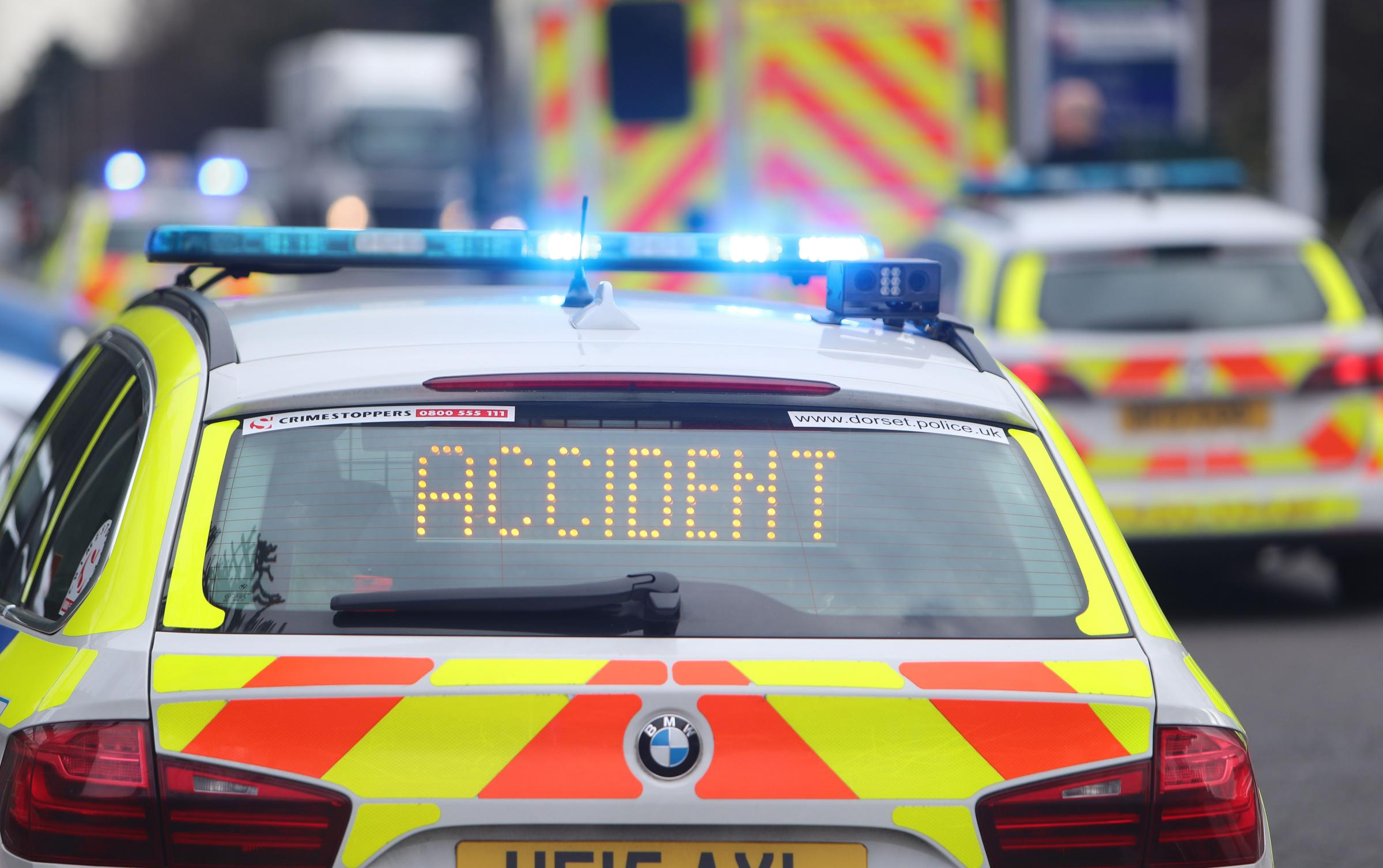 Emergency services attend the scene of a collision involving a car and an 85 year old female pedestrian at Poole Road in Branksome. .Stock picture. .Police, Accident..