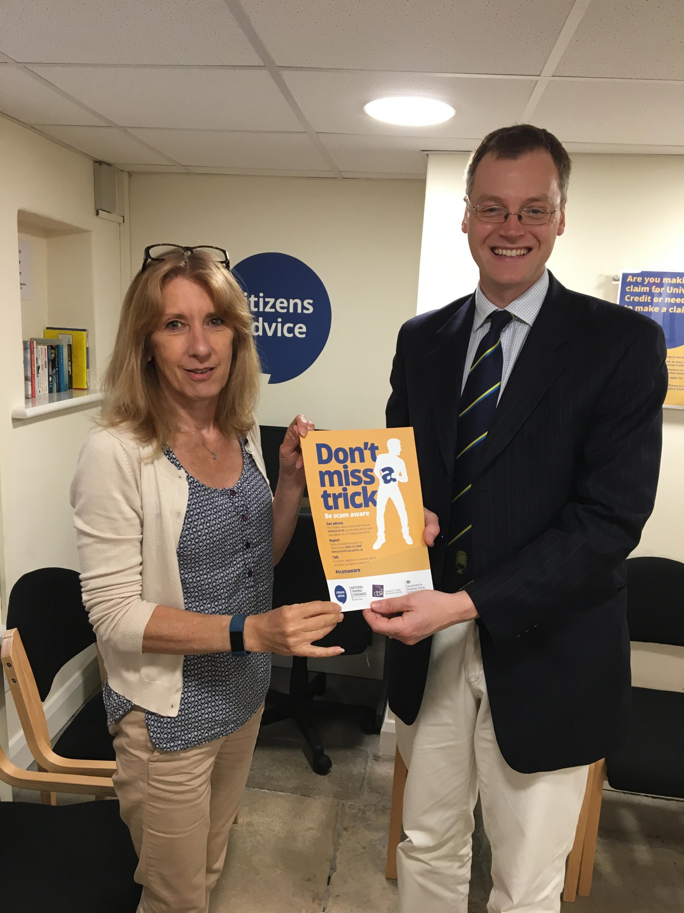 Michael Tomlinson MP talks to Citizens Advice during Scams Awareness