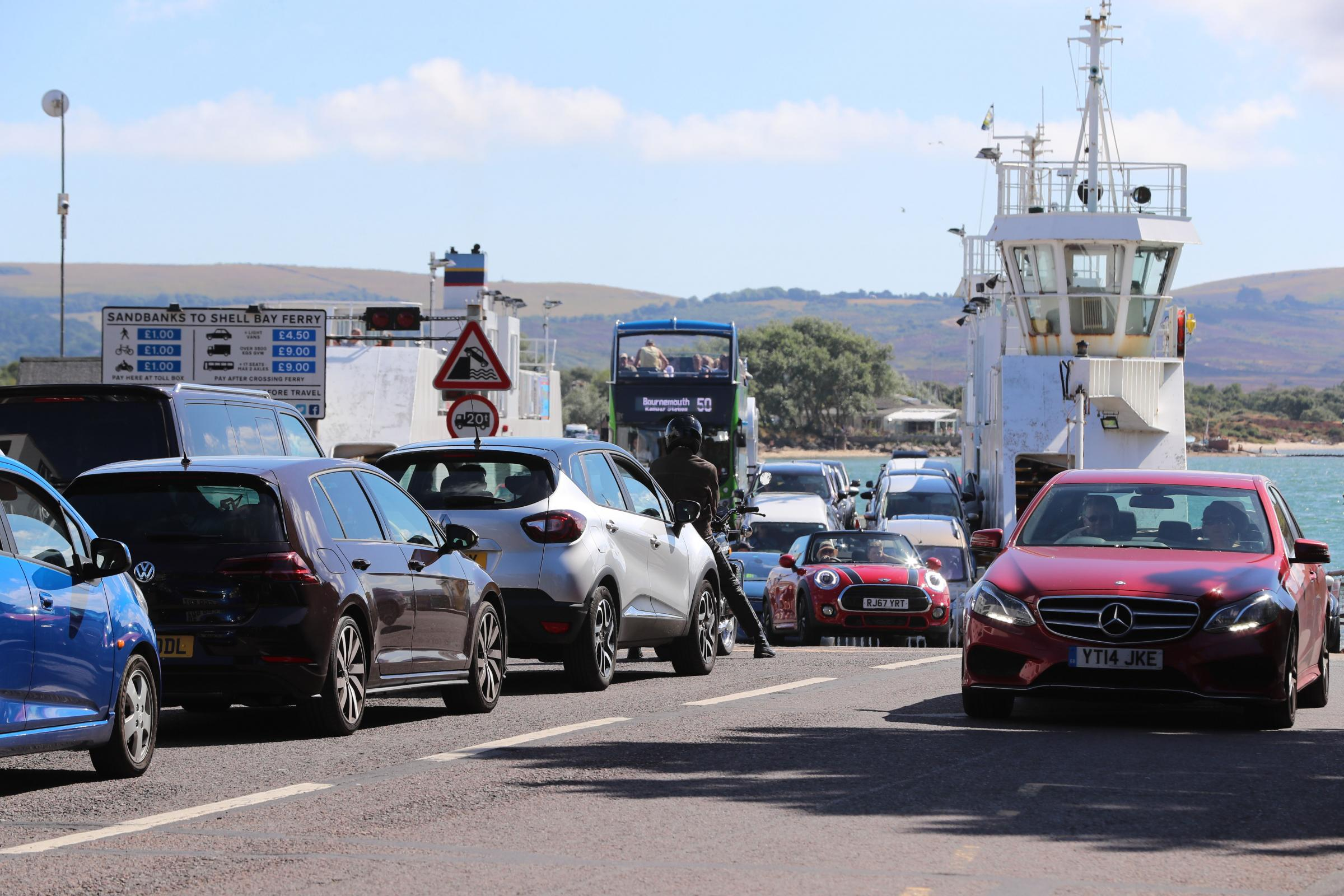 Traffic waiting to cross on the Sandbanks to Studland Ferry.