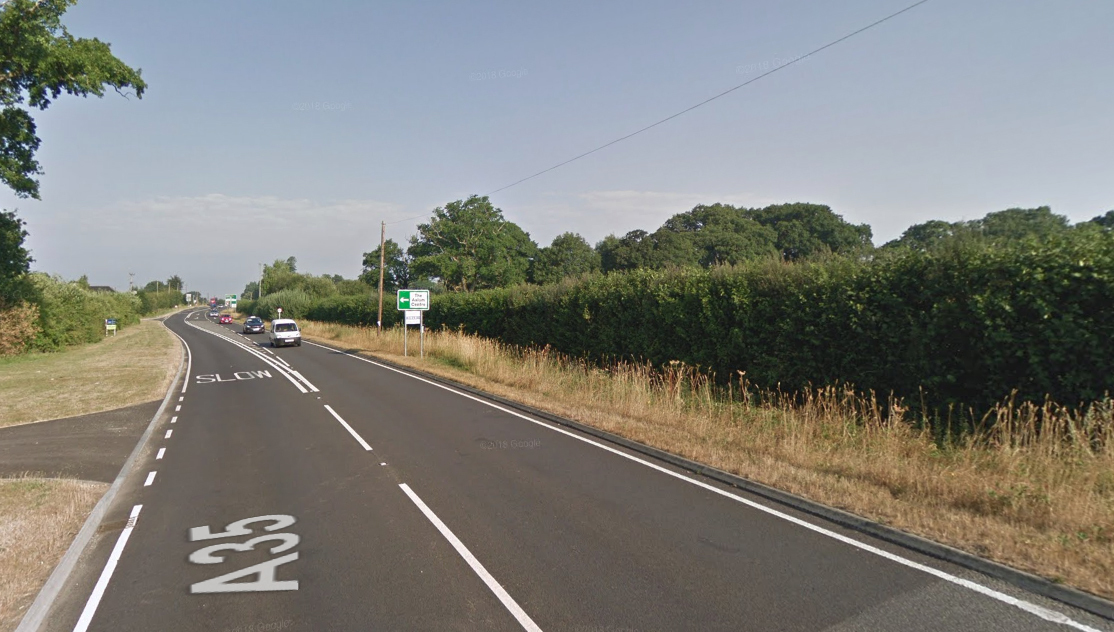The A35 between the Bakers Arms Roundabout and Morden Park Corner. Picture via Google street View