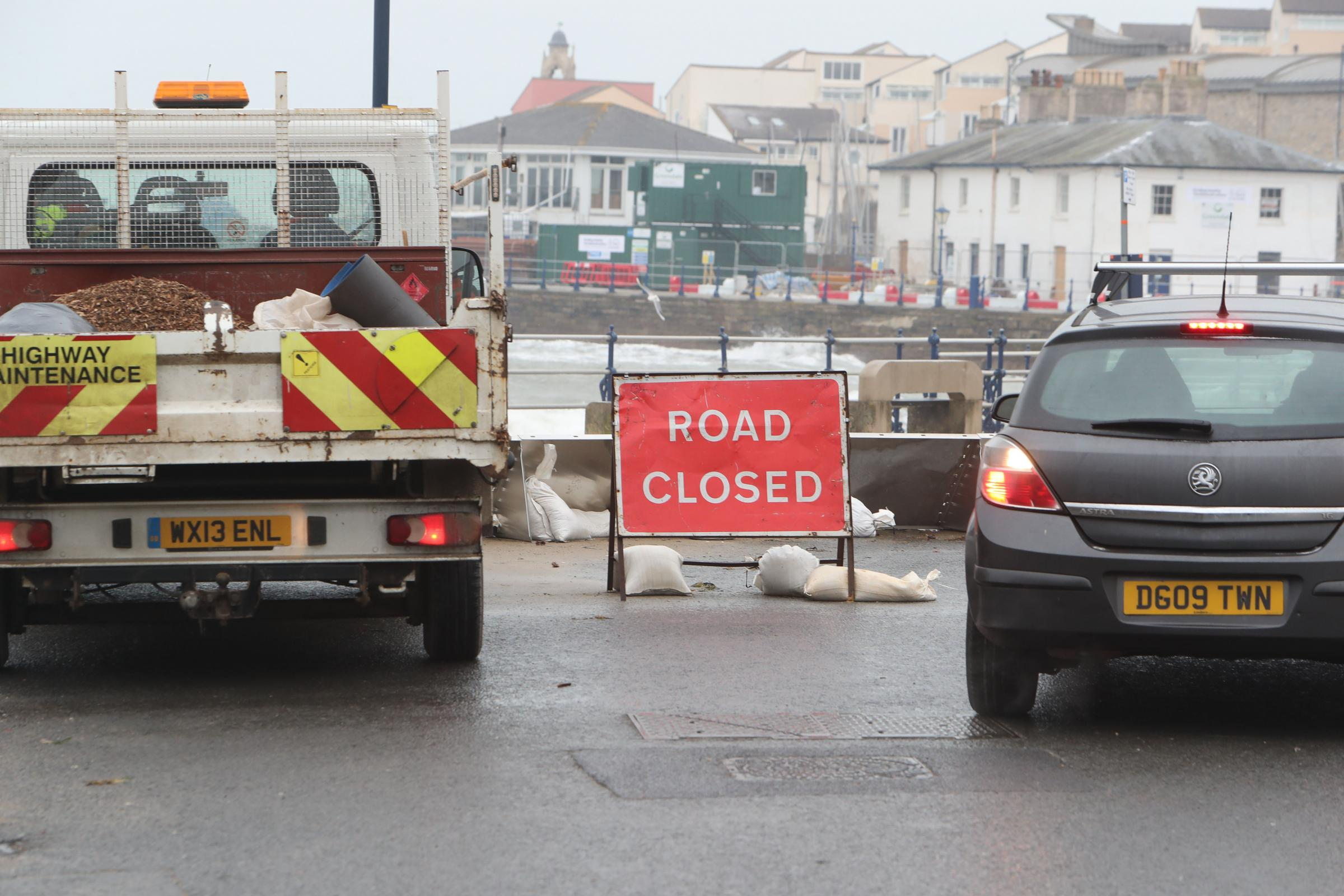 Swanage High Street has been closed due to high tides